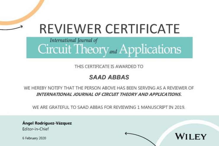 Faculty member of Electrical Engineering Department Receives an Awarded Certificate of Review from an international Journal