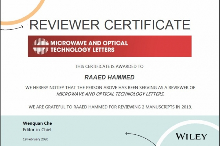 The Deputy Head of Electrical Engineering Department Receives an Awarded Certificate of Review from an international Journal